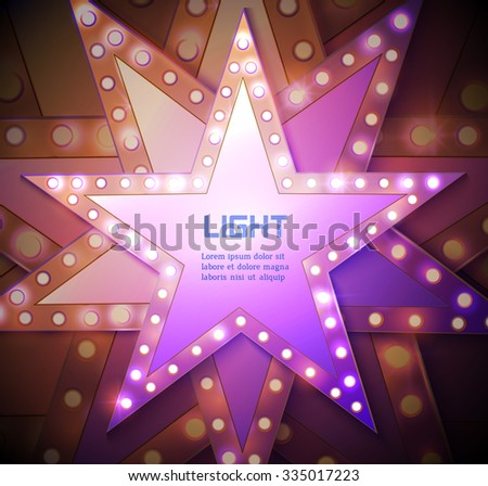 Stars retro light banner. Vector illustration eps 10 - stock vector