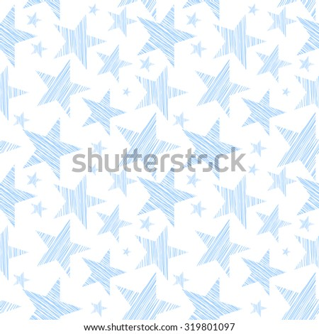 Stars seamless pattern for background, wallpaper either fabric. Vector art. - stock vector