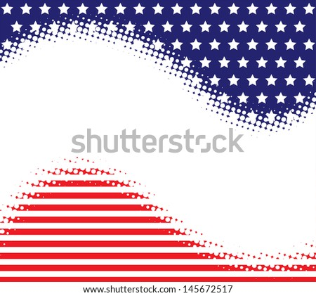 Stars Stripes Halftone Background - stock vector