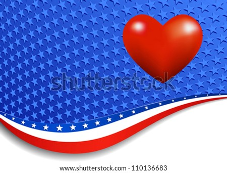 Stars & Stripes with Heart - in the vector file there are more stars outside the vector mask, for you to mask as you like. - stock vector