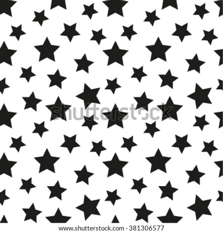 Stars vector background. Seamless texture. Black and white backdrop. Wallpaper decorative pattern. Sky element. Space illustration. Universal icon. Simple flat decoration. Children design. - stock vector