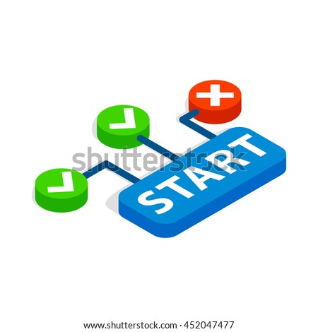 Start button icon in isometric 3d style isolated on white background. Choice symbol - stock vector