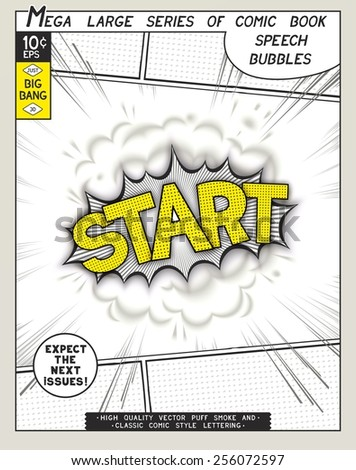 Start. Explosion in comic style with lettering and realistic puffs smoke. 3D vector pop art speech bubble - stock vector