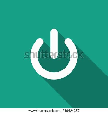 start power icon with long shadow - stock vector