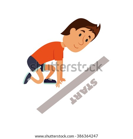 Start run. Runner ready to start. The man characters at the start of the marathon. Beginning of the competitions concept. Athlete at the starting position. Healthy lifestyle. - stock vector