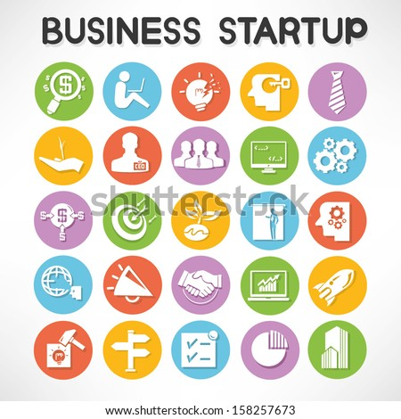 start up business icons set - stock vector