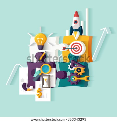Start up concept. Flat illustration. - stock vector