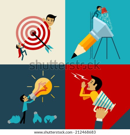 Start up, Flat logo Design Vector Illustration Web Concept of New Business Project Growth and Development and Launch a Innovation to success. Graphic Design Editable For Your Design.  - stock vector