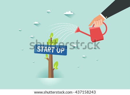 """Start up green business growth concept. Human hand with can watering a tree with """"Start up"""" sign board. Vector colorful illustration in flat style  - stock vector"""