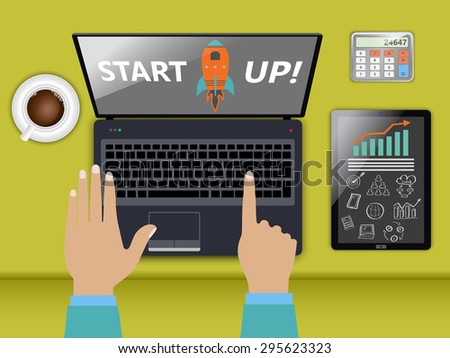 Start up, launching new business as concept - stock vector