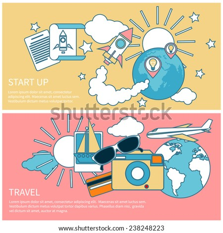 Start up rocket idea. New business project start up, launching new product or service in flat design. International business travel by airplane. Tourist icons around the planet - stock vector