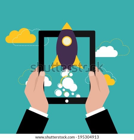 Start up rocket or business launch. Vector illustration - stock vector