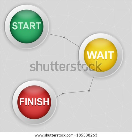 Start, wait and finish buttons. Vector illustrations. - stock vector