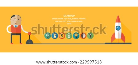 Starting a new business project. Flat design - stock vector