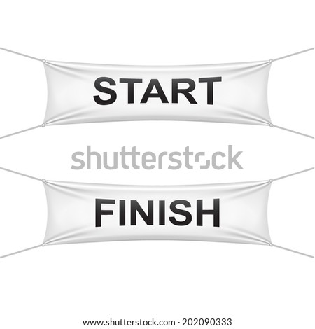 Starting and finishing lines banners. Vector illustrations. - stock vector
