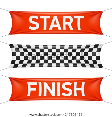 Starting and finishing lines, checkered banners. Vector. - stock vector