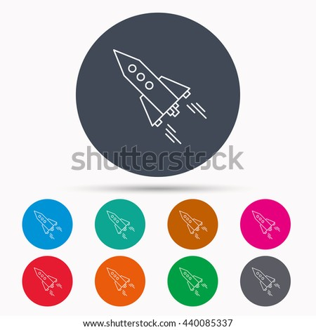 Startup business icon. Rocket sign. Spaceship shuttle symbol. Icons in colour circle buttons. Vector - stock vector
