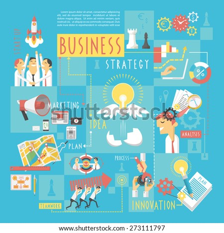 Startup business plan strategic schema with infographic elements poster of marketing analyzing  teamwork abstract sketch vector illustration - stock vector