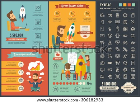 Startup infographic template and elements. The infographic template includes illustrations of hipster men and huge awesome set of thin line icons. Modern minimalistic flat vector infographic design. - stock vector
