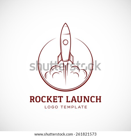 Startup Rocket Space Ship Abstract Vector Logo Template or Label, Badge. Isolated Illustration, Perfect for Corporate Identity. - stock vector