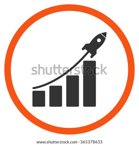 Startup Sales vector icon. Style is bicolor flat circled symbol, orange and gray colors, rounded angles, white background. - stock vector