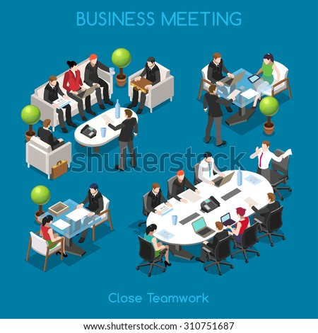 Startup Teamwork Brainstorming Business Office Meeting Room People Unique Isometric Realistic Poses 3D Flat Vector Icon Set Team table working Vector JPEG JPG EPS 10 Image Drawing AI Object Picture - stock vector