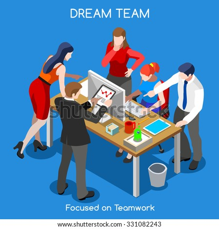 Startup Teamwork Brainstorming Office Meeting Room Interacting People Unique Isometric Realistic Poses palette 3D Flat Vector Icon Set Setting New Goals JPG JPEG Image Drawing Object Picture EPS 10 AI - stock vector