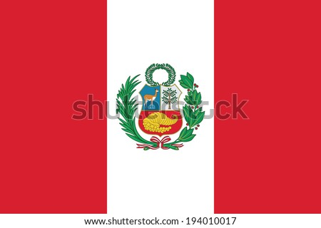 State flag of Peru. Vector. Accurate dimensions, elements proportions and colors. - stock vector