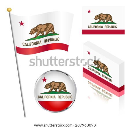 State of California flag on a pole, badge and isometric designs vector illustration. - stock vector