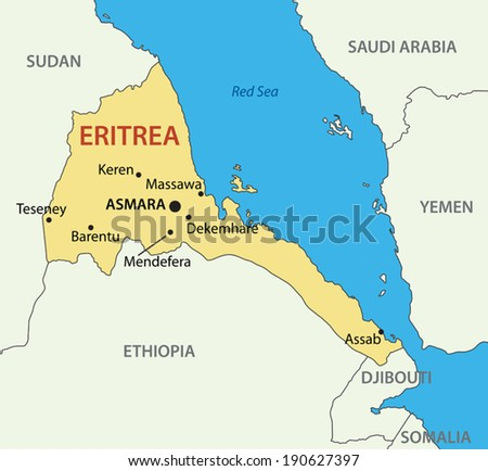 State of Eritrea - vector map - stock vector