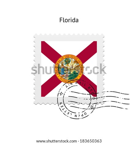 State of Florida flag postage stamp on white background. Vector illustration. - stock vector