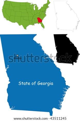 State of Georgia, USA - stock vector