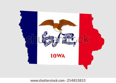 State of Iowa grunge flag map isolated on a white background, U.S.A.  - stock vector
