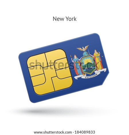 State of New York phone sim card with flag. Vector illustration. - stock vector