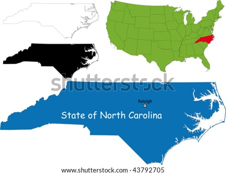State of North Carolina, USA - stock vector
