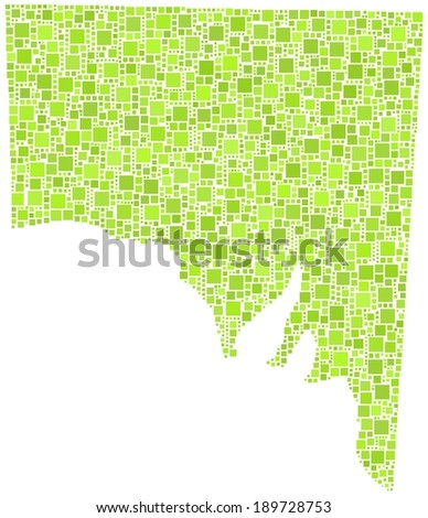 State of South Australia in a mosaic of green squares - stock vector
