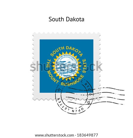 State of South Dakota flag postage stamp on white background. Vector illustration. - stock vector