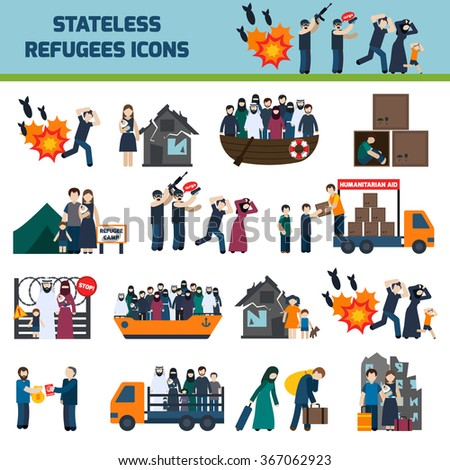 Stateless refugees icons set with illigal immigrants isolated vector illustration - stock vector