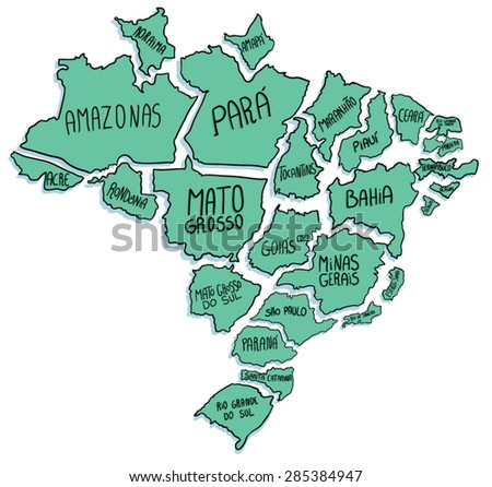 States of Brazil separated - stock vector