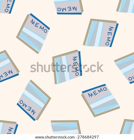stationary note, cartoon seamless pattern background - stock vector