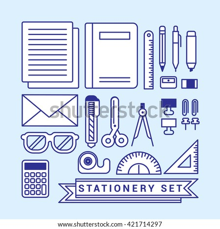 stationery and icons set for flat design.  - stock vector
