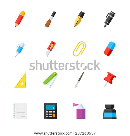 Stationery and Painting tools icons : Flat Icon Set for Web and Mobile Application - stock vector