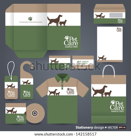 Stationery design set in vector format, pet care concept. - stock vector