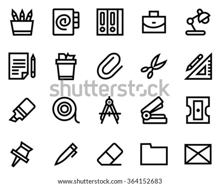 Stationery line icon set. Pixel perfect fully editable vector icon suitable for websites, info graphics and print media. - stock vector