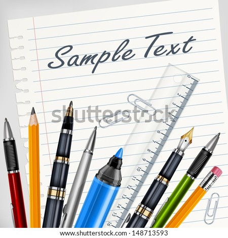 Stationery on white sheet for school, education vector illustration - stock vector