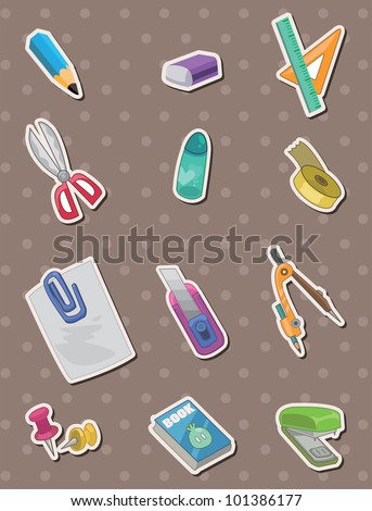 stationery stickers - stock vector