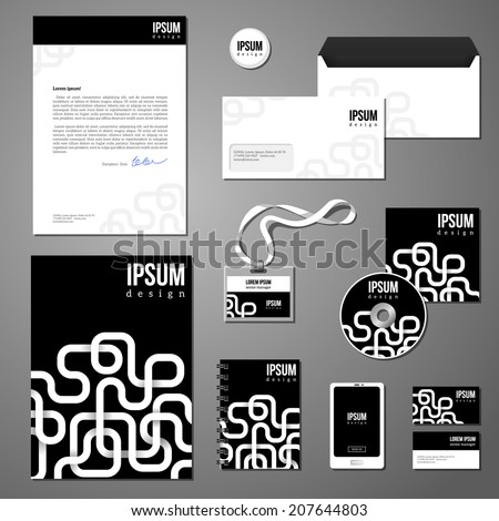 Stationery template design with white geometric elements on black background. Documentation for business. Corporate identity design vector. - stock vector