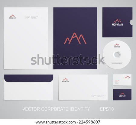 Stationery template with logo, mountain, outdoor, camping, wild life, hunting, ski, snowboard. Corporate, company, identity, branding, brand, cd, business card, envelope, leaflet, letterhead, folder - stock vector