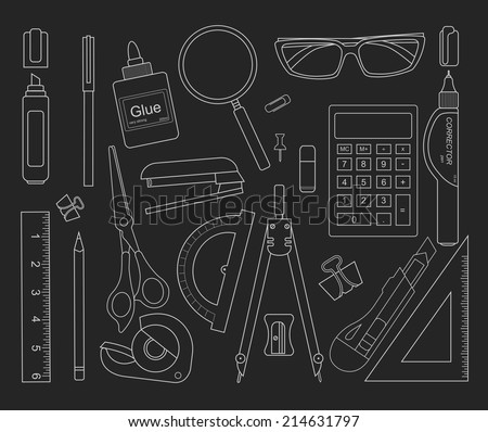 Stationery tools black outlines: marker, paper clip, pen, binder, clip, ruler, glue, zoom, scissors, scotch tape, stapler, corrector, glasses, pencil, calculator, eraser, knife, compasses, protractor - stock vector