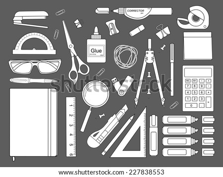 Stationery tools: marker, paper clip, pen, binder, clip, ruler, glue, zoom, scissors, scotch tape, stapler, corrector, glasses, pencil, calculator, eraser, knife, compasses, protractor, sticky notes. - stock vector